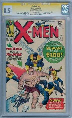 X-Men #3 1964 CGC 8.5 Signature Series Signed Stan Lee 1st App Blob Silver Age Marvel comic book